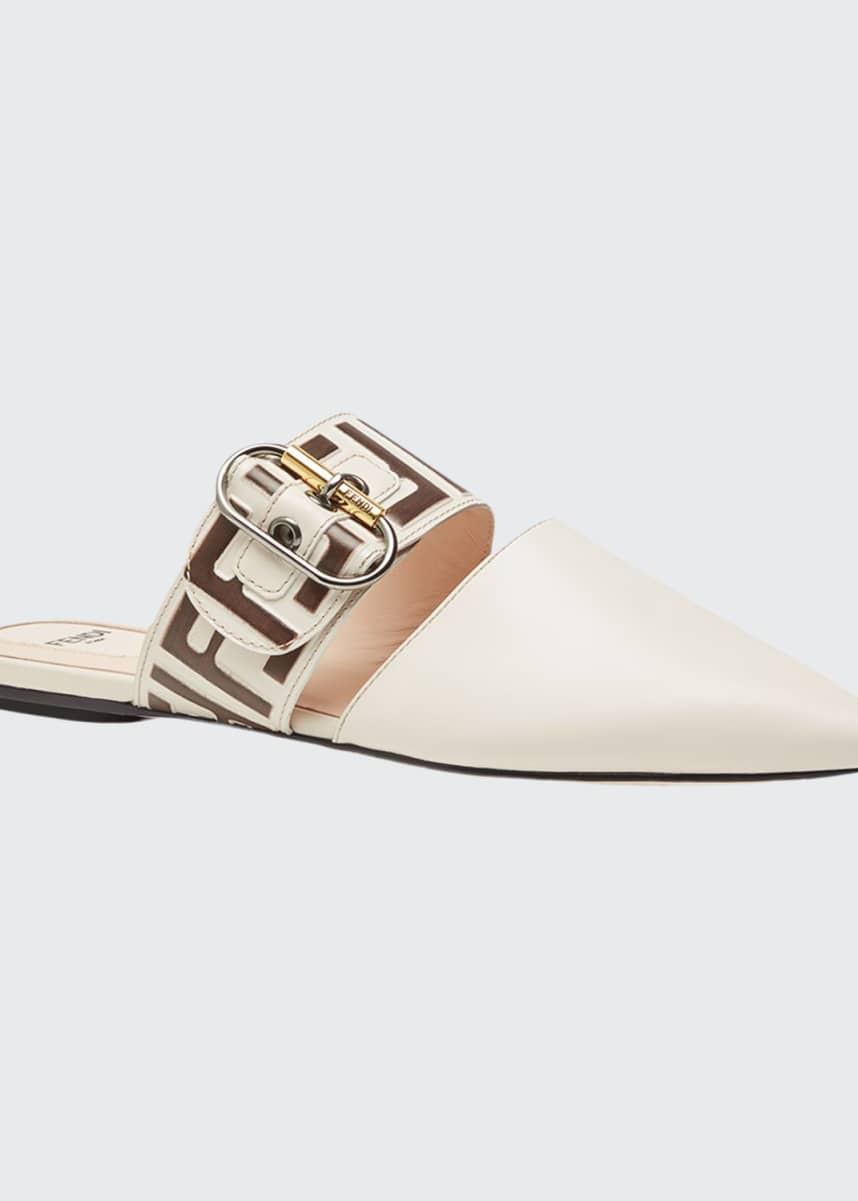 Fendi Leather Mules with FF Strap