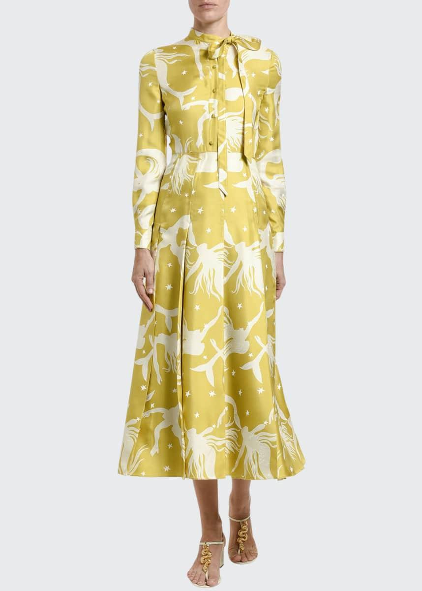 Valentino Mermaid Print Silk Pleated Shirtdress