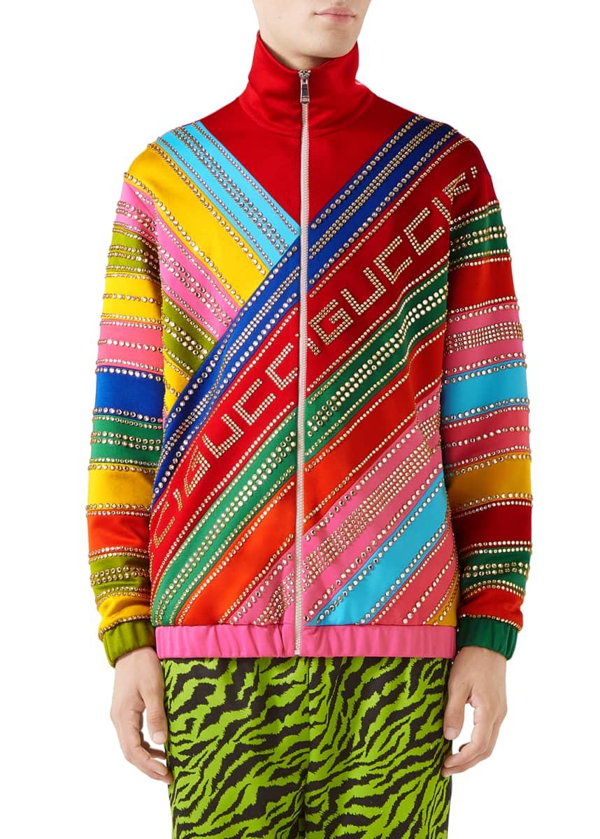 Gucci Men's Embellished Multi-Striped Logo Track Jacket