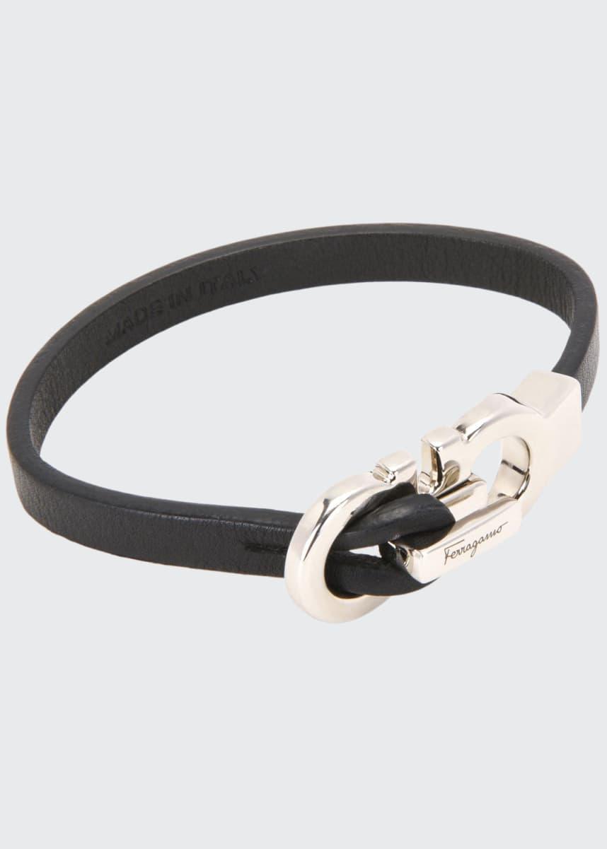 Salvatore Ferragamo Men's Gancini Leather Band Bracelet
