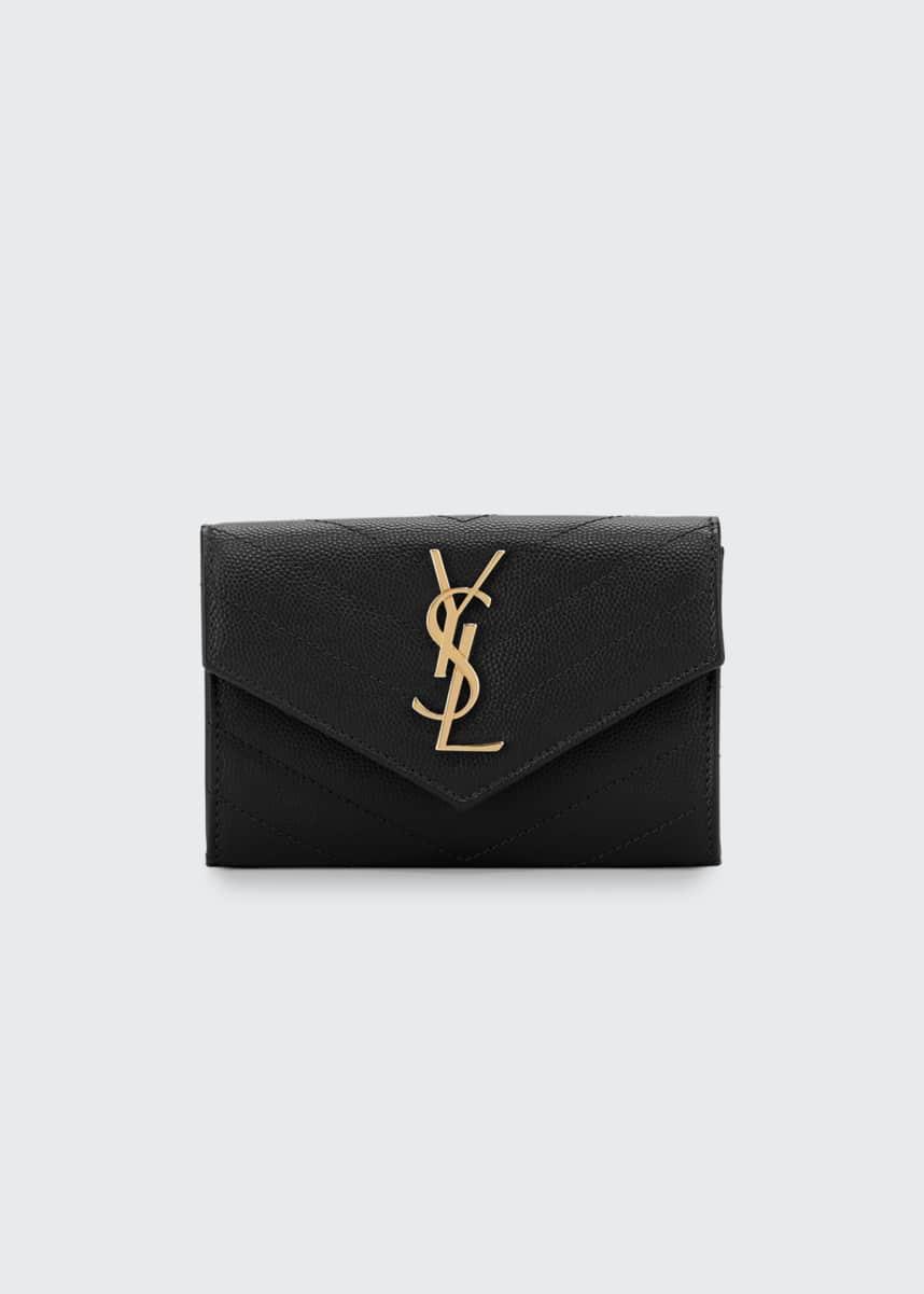 Saint Laurent Monogramme Small Grain de Poudre Envelope Wallet