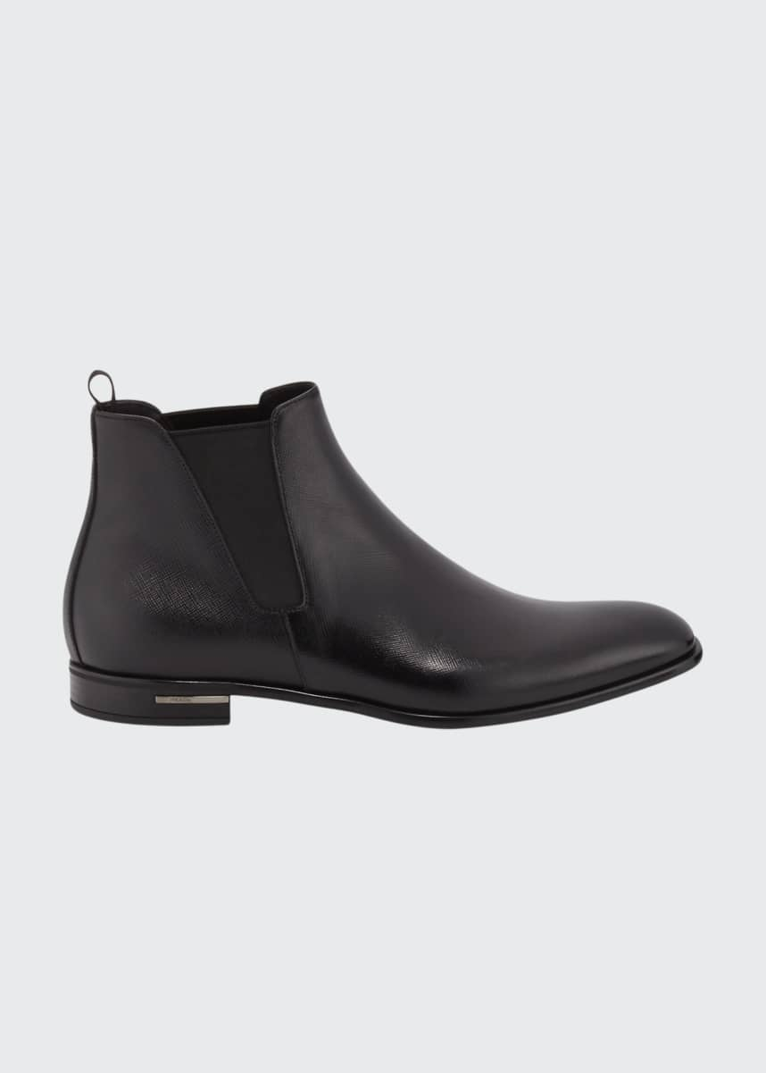 Prada Saffiano Leather Chelsea Boots, Black