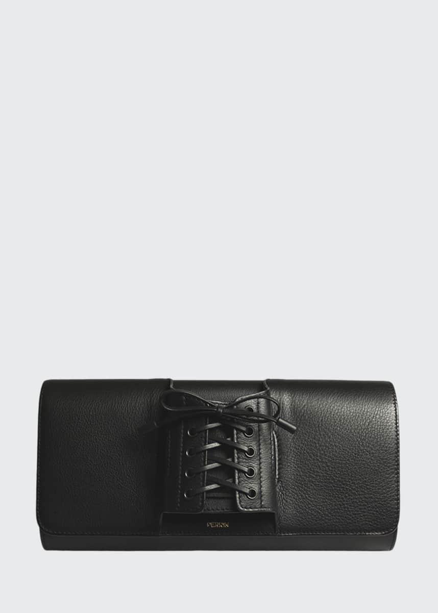 Perrin Paris Le Corset Lace-Up Leather Clutch Bag