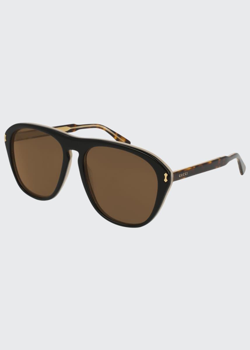 Gucci Men's Two-Tone Tortoiseshell Aviator Sunglasses