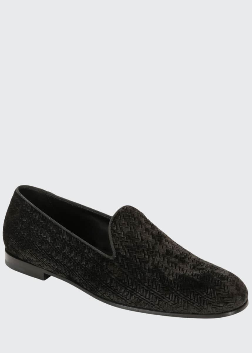 Giorgio Armani Men's Woven Velvet Formal Loafer