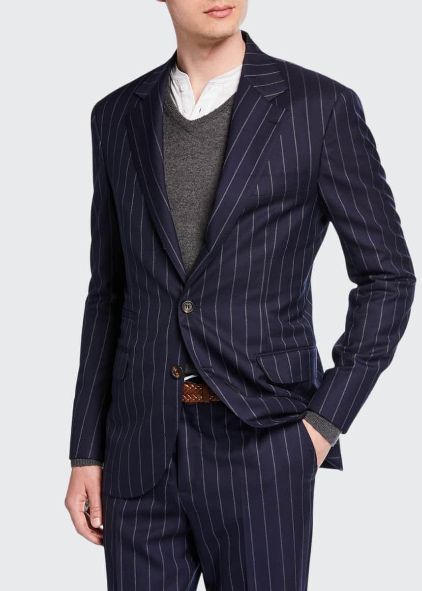 Brunello Cucinelli Men's Wide Pinstriped Two-Piece Suit