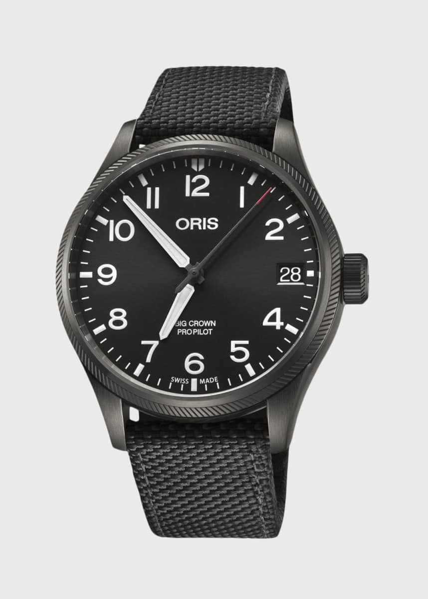 Oris Men's 41mm Propilot Watch w/ Textile Strap, Black