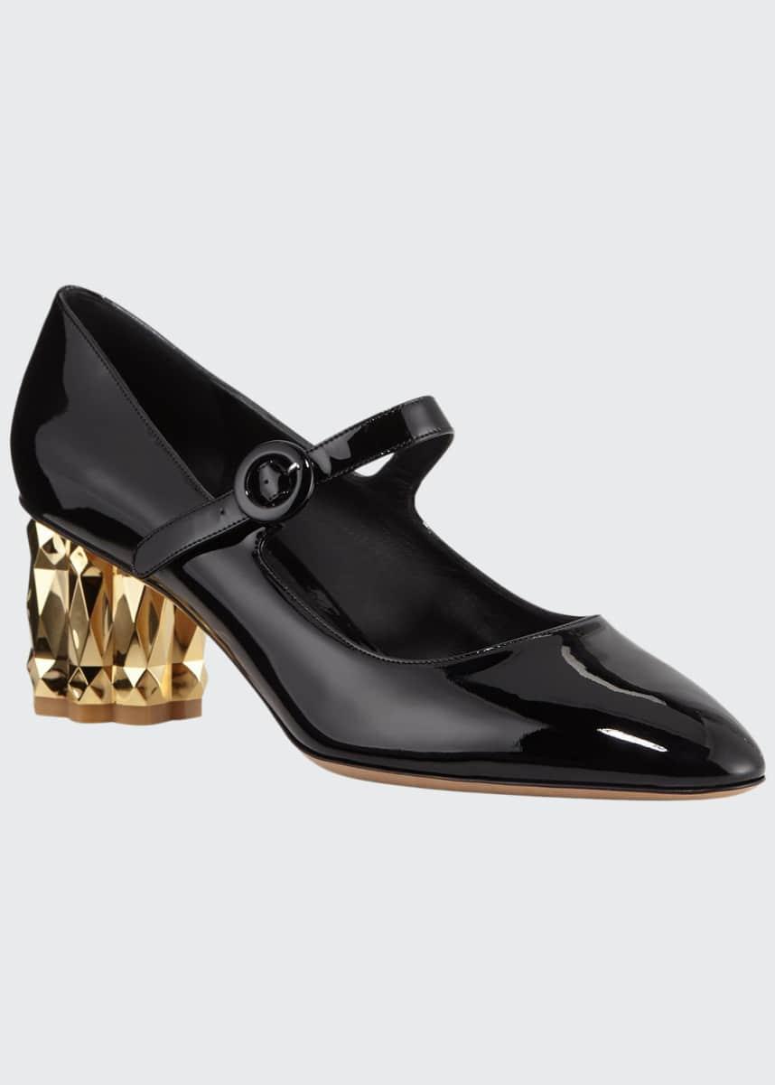 Salvatore Ferragamo Ortensia Metallic-Heel Patent Pumps