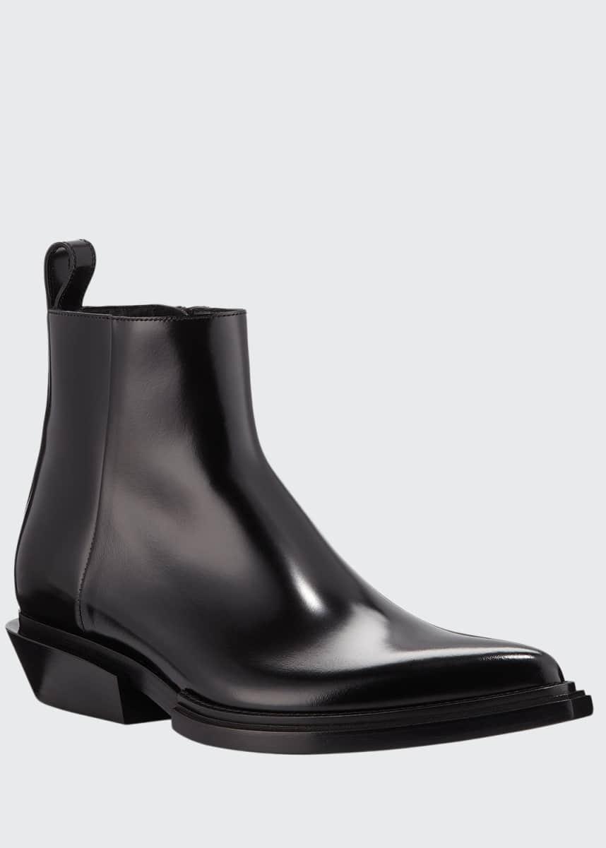 Balenciaga Men's Santiag Calfskin Short Boots