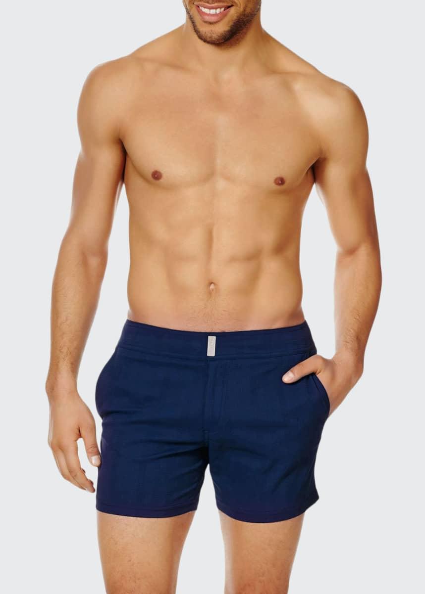 Vilebrequin Men's Unis Stretch-Jacquard Swim Trunks