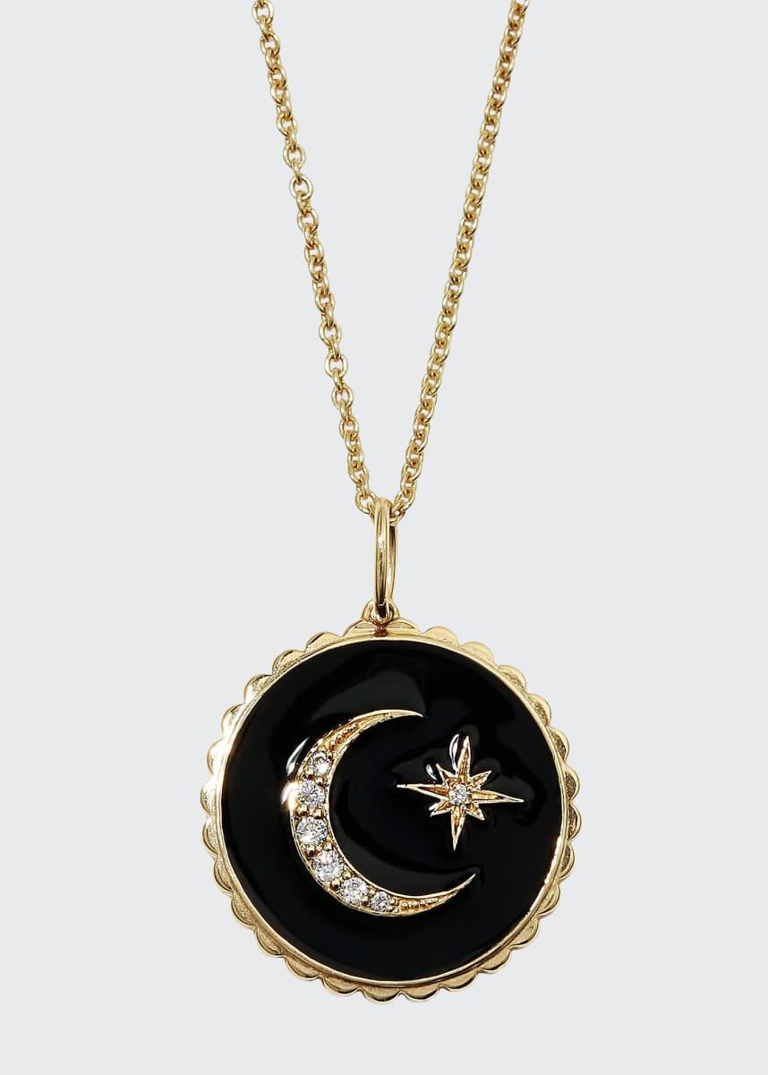 Sydney Evan 14k Black Celestial Medallion Necklace w/ Diamonds