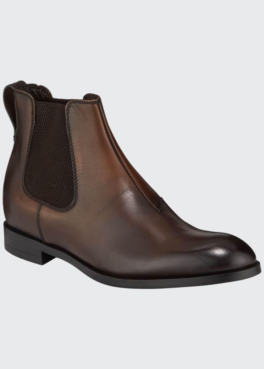 Ermenegildo Zegna Men's Siena Flex Burnished Leather Chelsea Boots