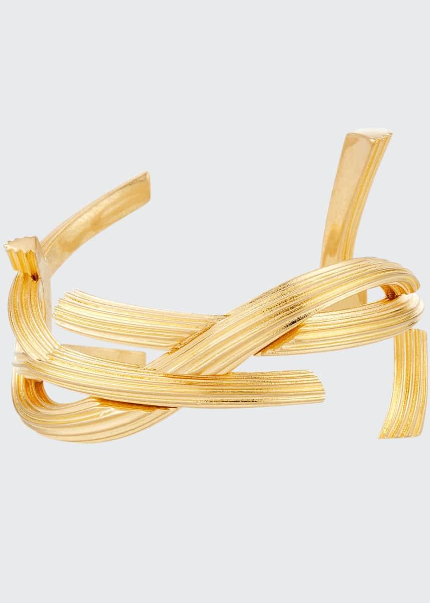 Saint Laurent YSL Monogram Bracelet, Golden, Size Medium