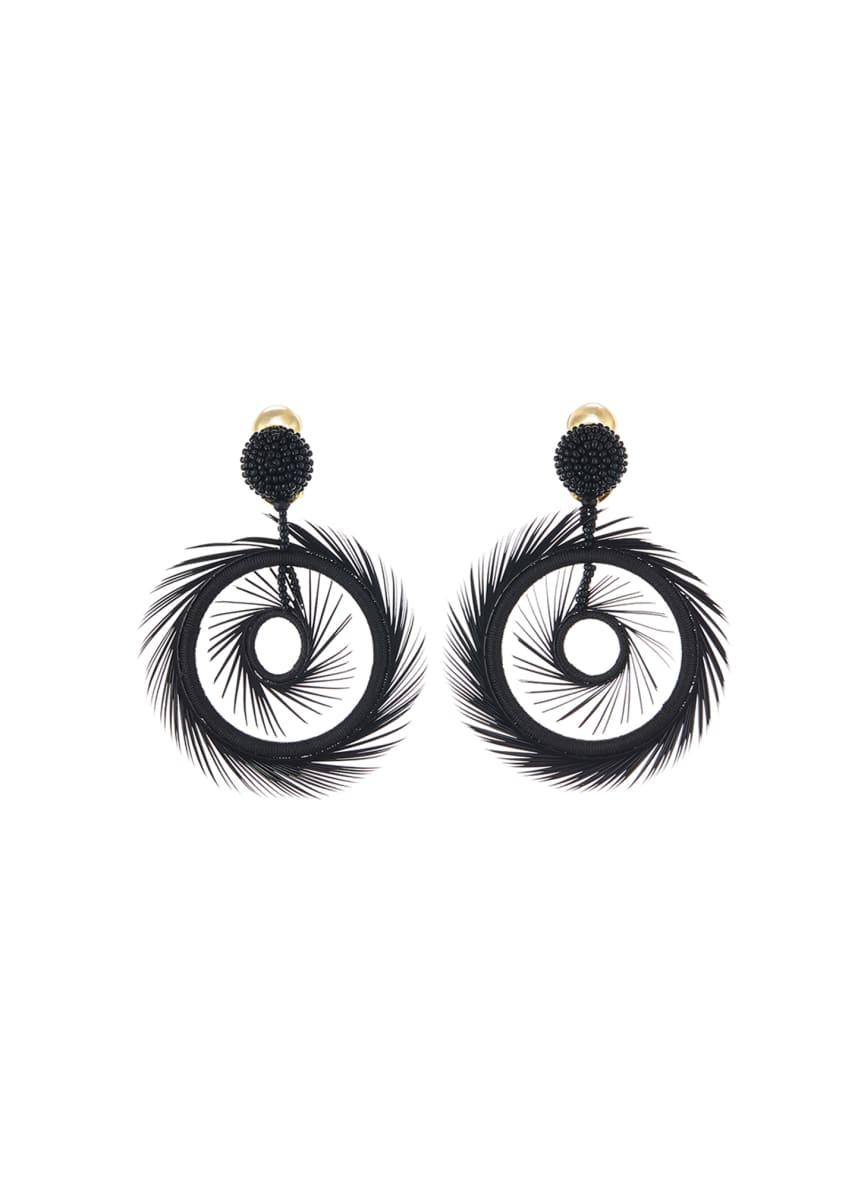 Oscar de la Renta Feather Hoop-Drop Earrings