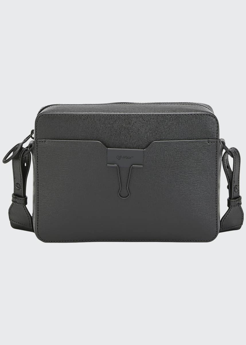 Off-White Men's Web-Strap Leather Camera Bag