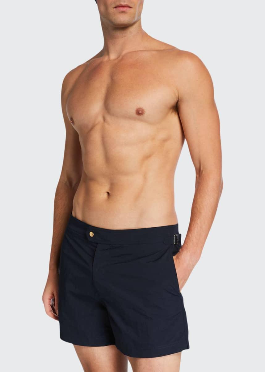 TOM FORD Men's Solid Swim Trunks, Navy Blue