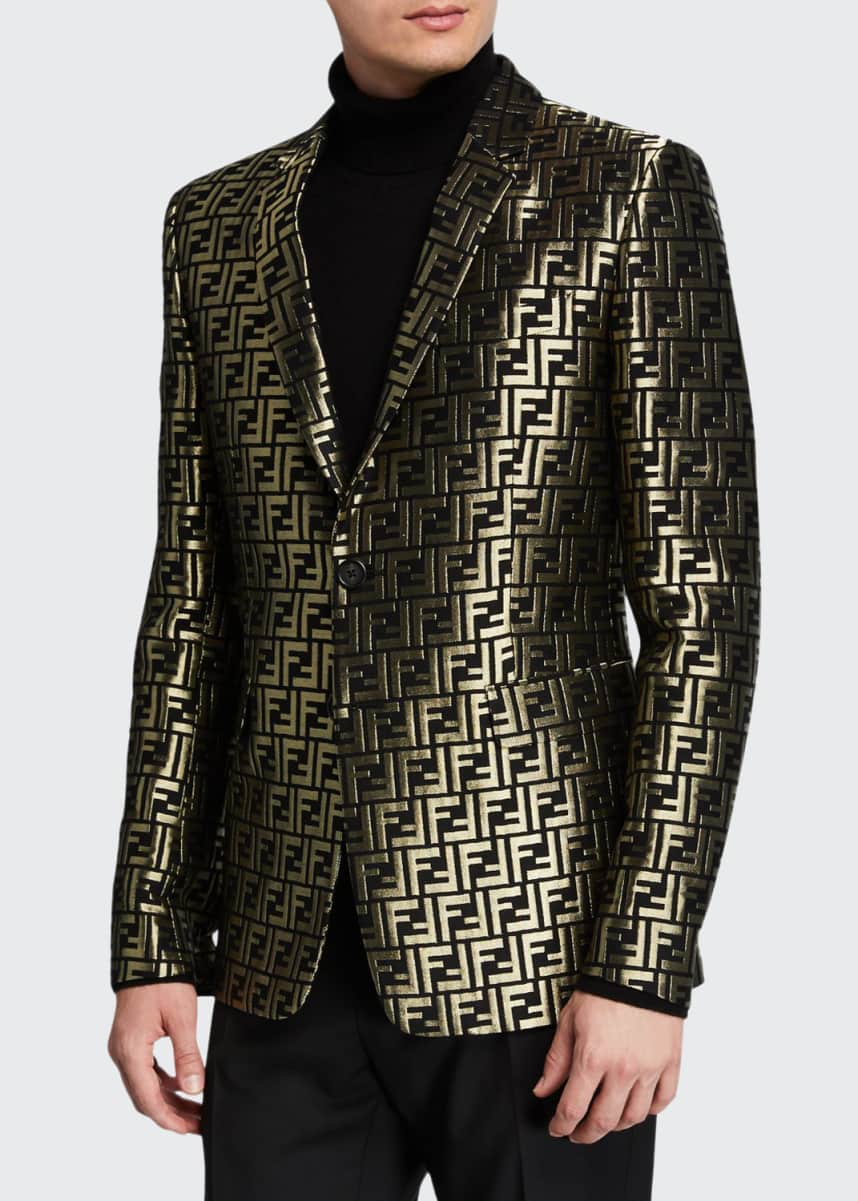 Fendi Men's Metallic FF Two-Button Jacket