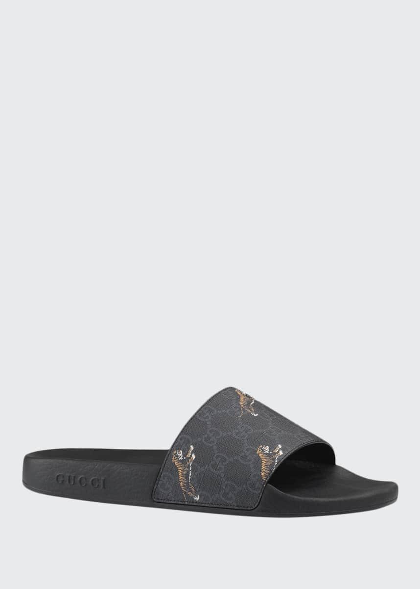 Gucci Men's Pursuit Printed Tiger Slide Sandals