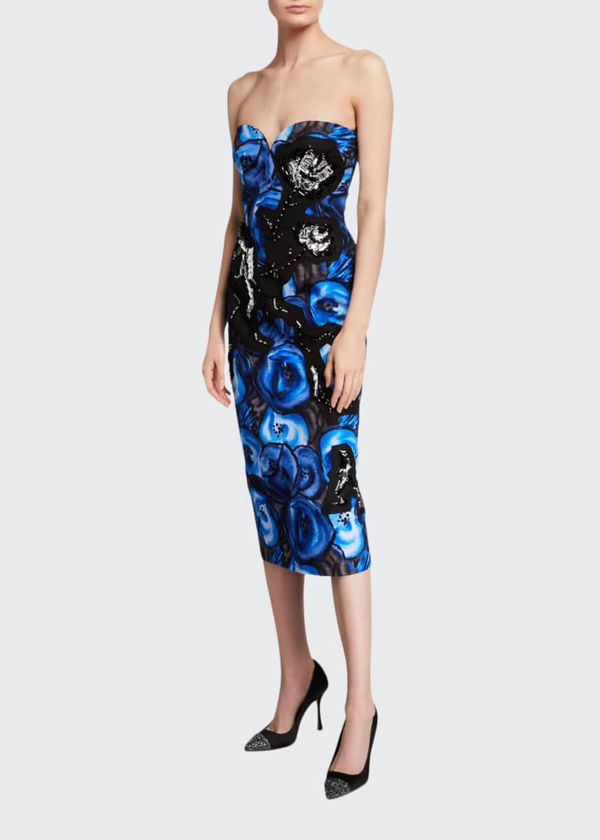 Prada Strapless Poppy-Print Poplin Dress