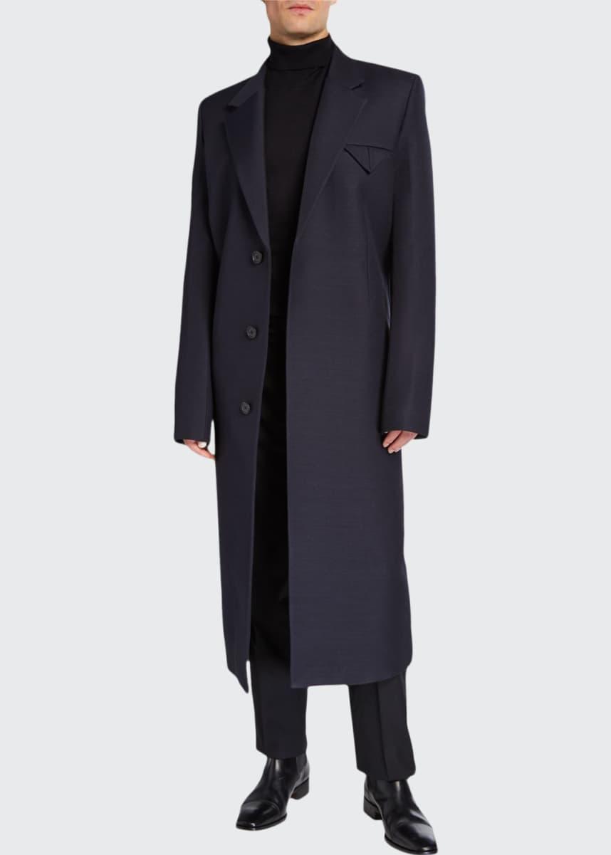 Bottega Veneta Men's Compact Wool-Blend Covered-Placket Coat