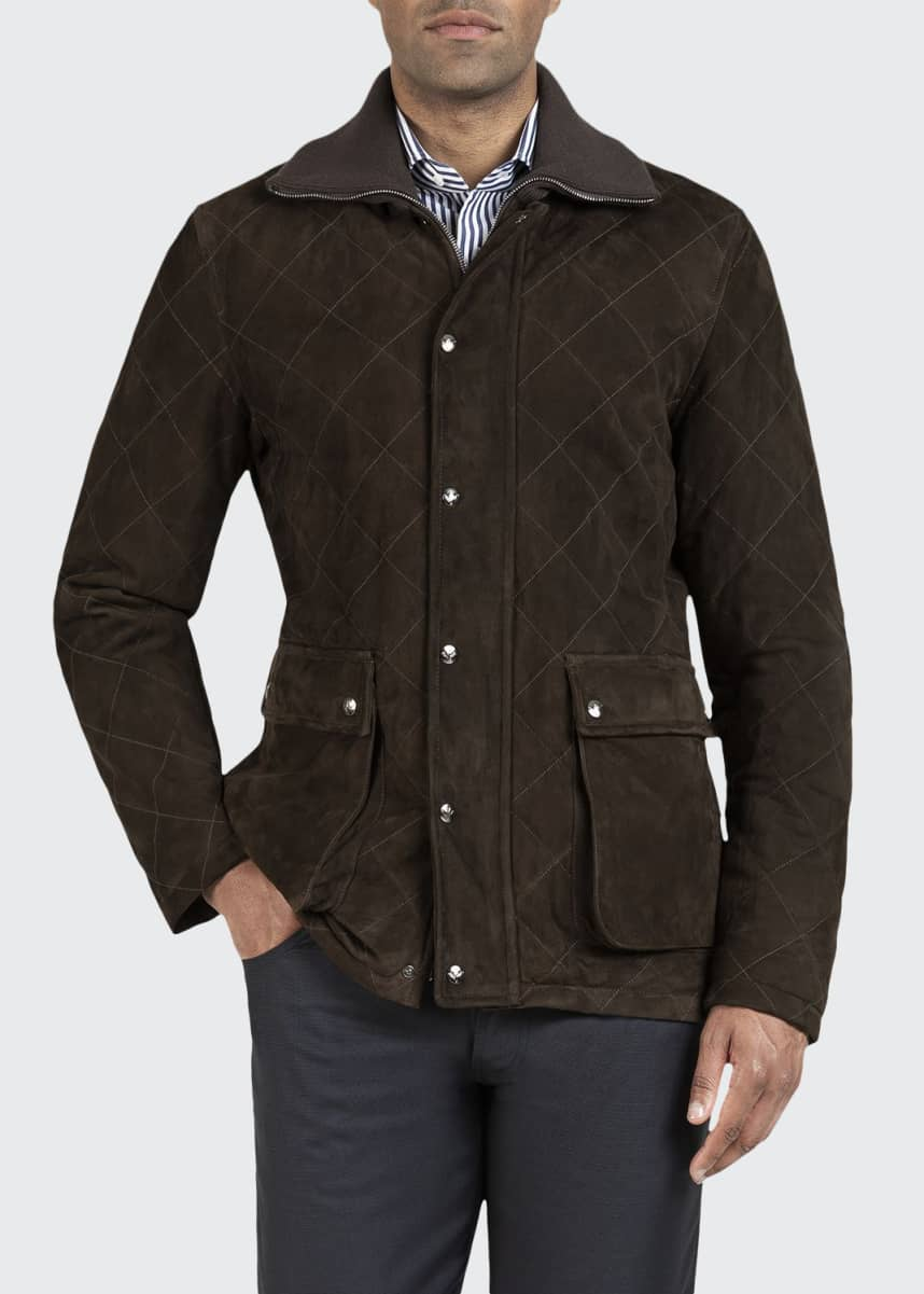Isaia Men's Quilted Suede Barn Coat