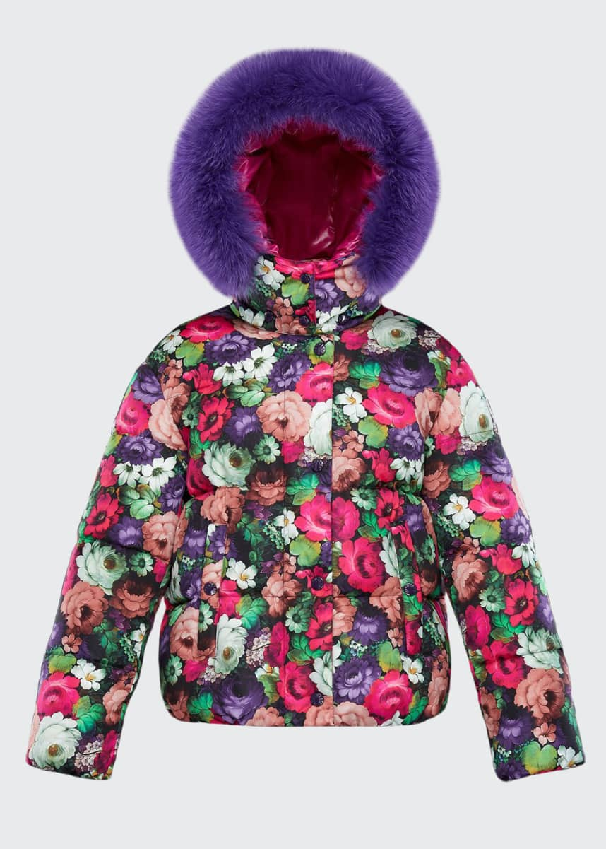 Moncler Koura Fur-Trim Detachable-Hood Puffer Coat, Size 8-14