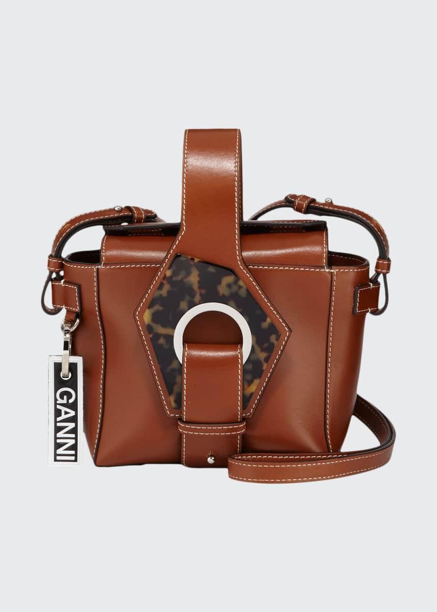 Ganni Leather Square Bucket Bag