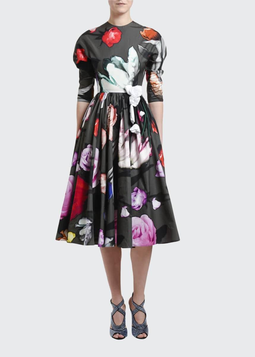 Prada Floral-Print Poplin Puff-Sleeve Dress