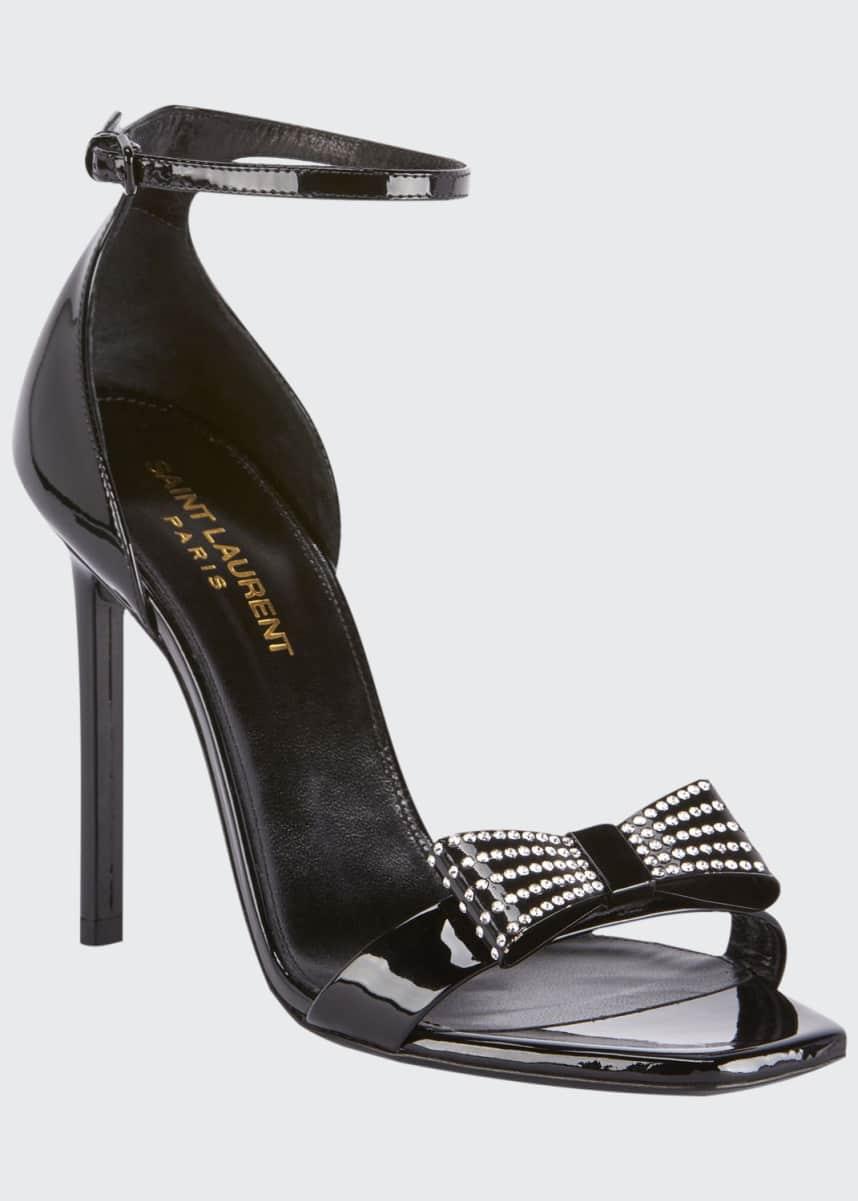 Saint Laurent Zoe Rhinestone Bow Patent Leather Sandals