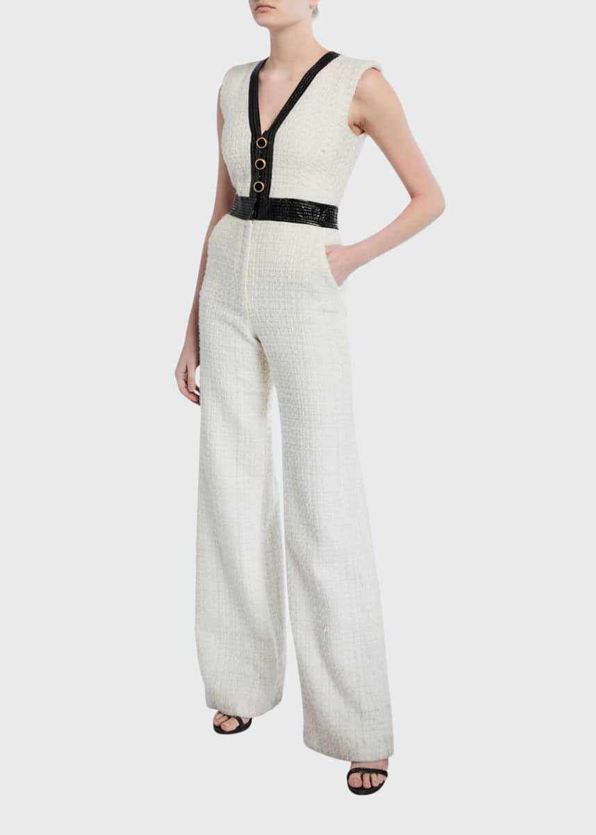 Veronica Beard Emmeline Sleeveless Tweed Jumpsuit