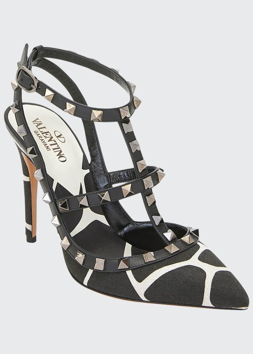 Valentino Garavani Giraffe-Print Rockstud Ankle-Strap Pumps