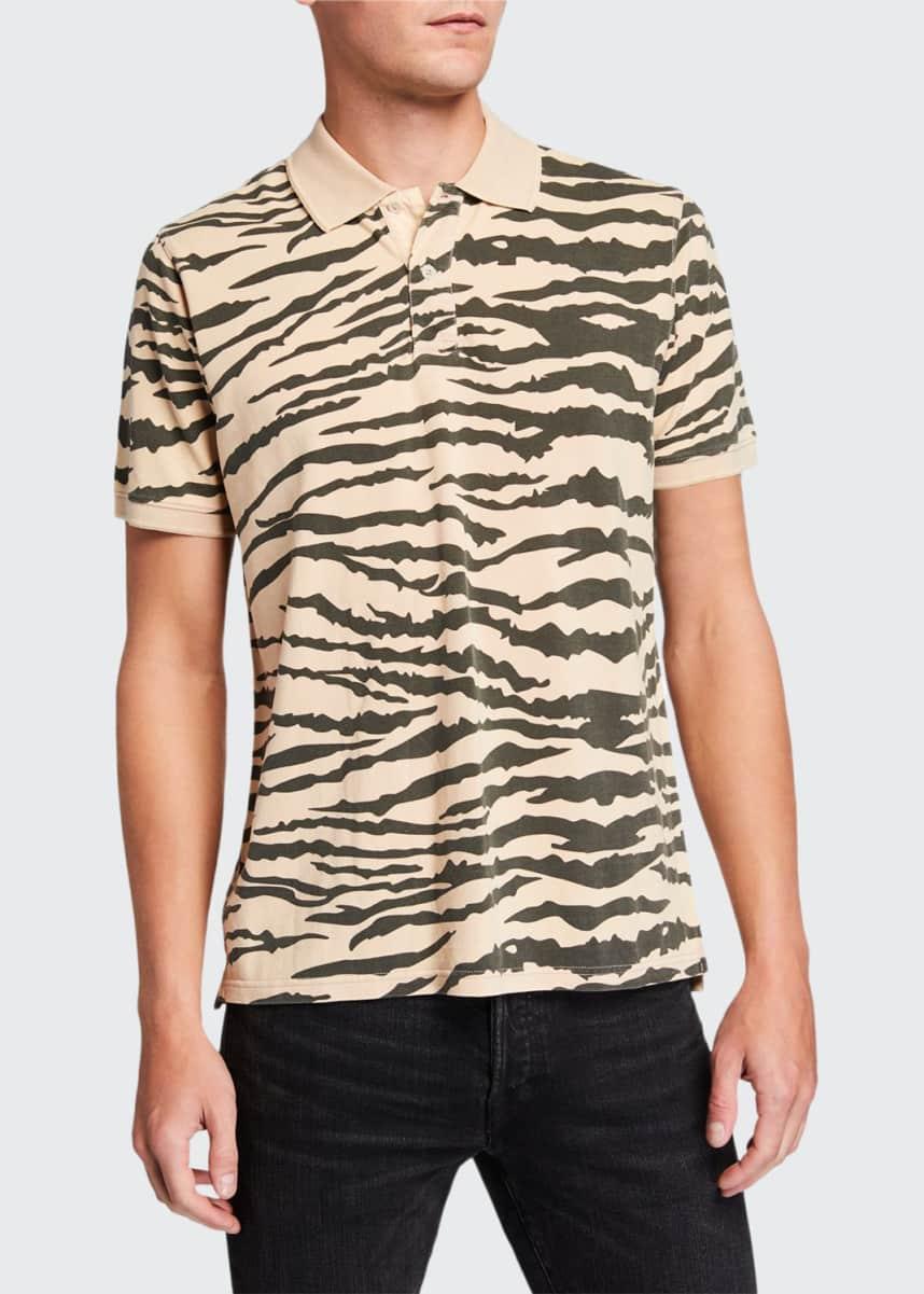 Ovadia Men's Tiger-Pattern Pique Polo Shirt