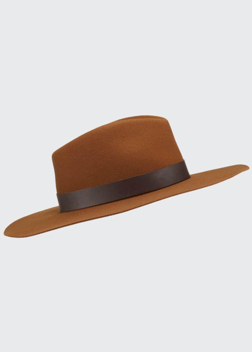 Rag & Bone Kacy Wool Fedora Hat w/ Leather Trim