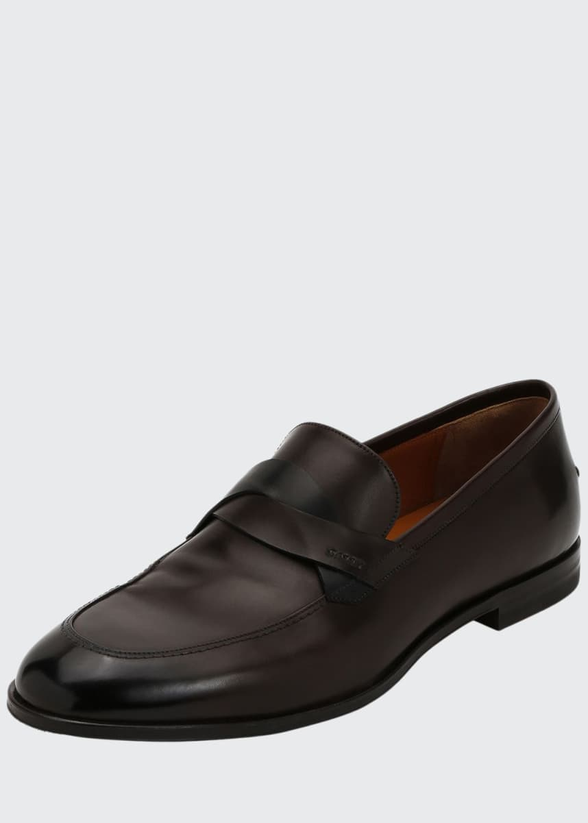 Bally Men's Welney Leather Twist-Strap Loafers