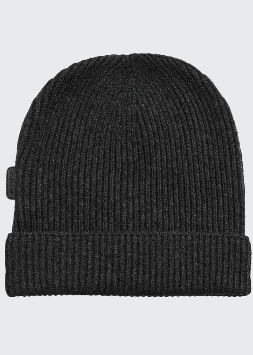TOM FORD Men's 8GG Cashmere Rib-Knit Beanie Hat, Gray