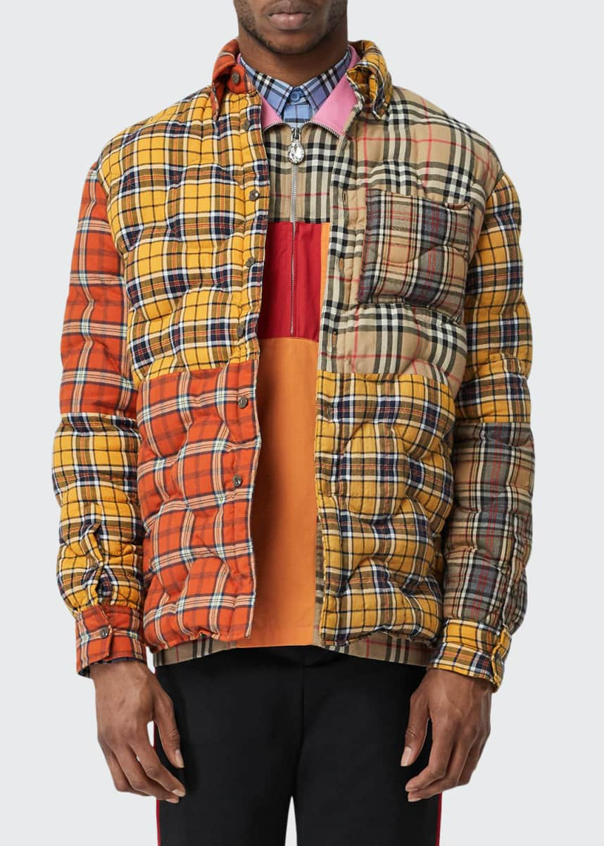 Burberry Men's Mixed Plaid Quilted Shirt Jacket