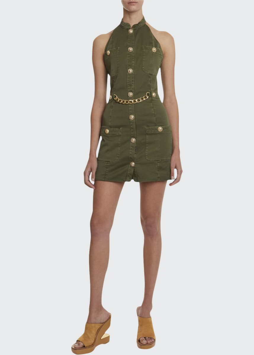 Balmain Golden-Chain Military Halter Dress