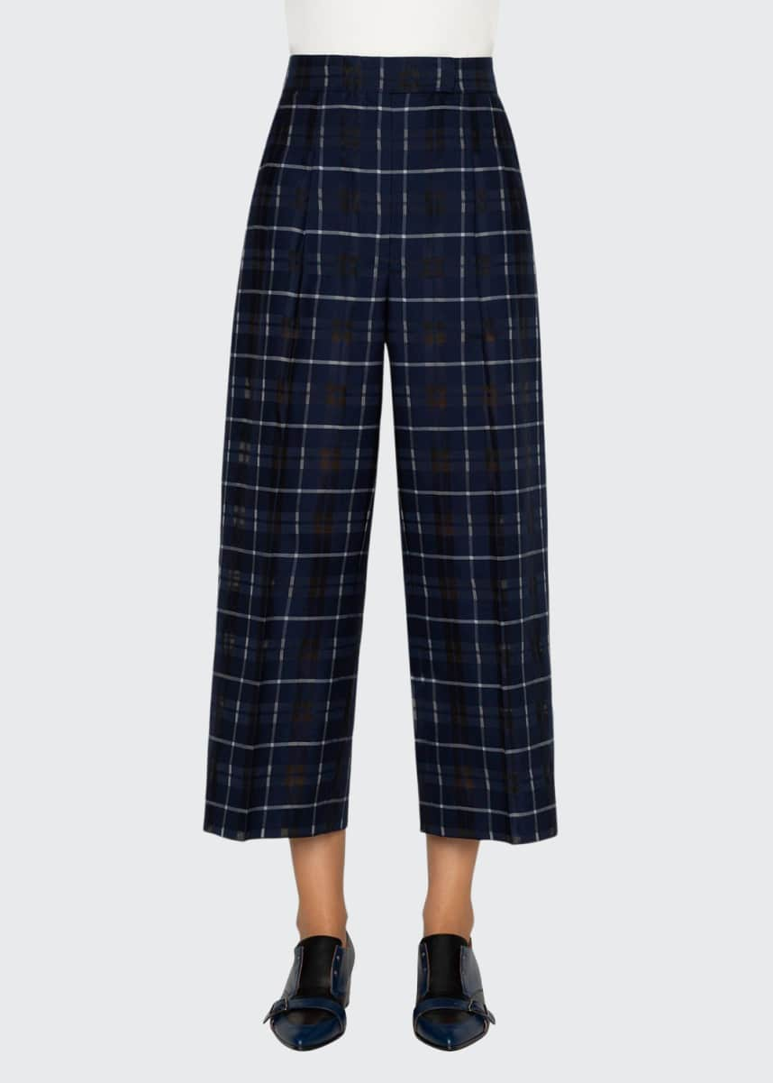 Akris Fira Plaid Pleated-Front Pants