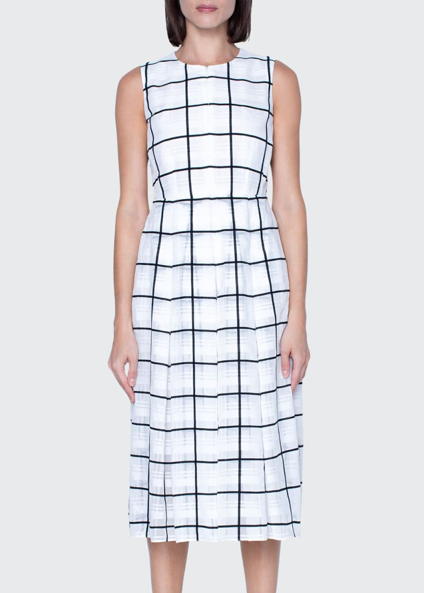 Akris Windowpane Print Midi Dress