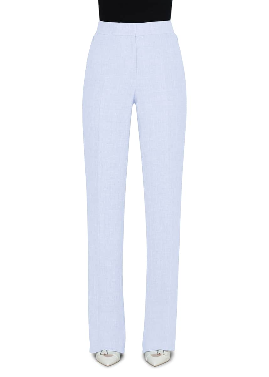 Akris Carl Linen-Wool Straight-Leg Pants