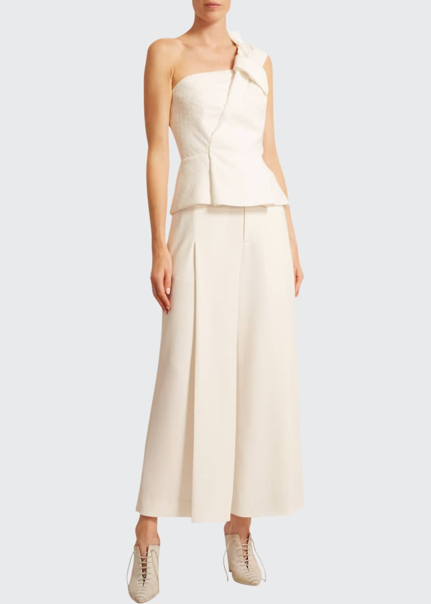 Roland Mouret Whitefield Rippled Plisse Top