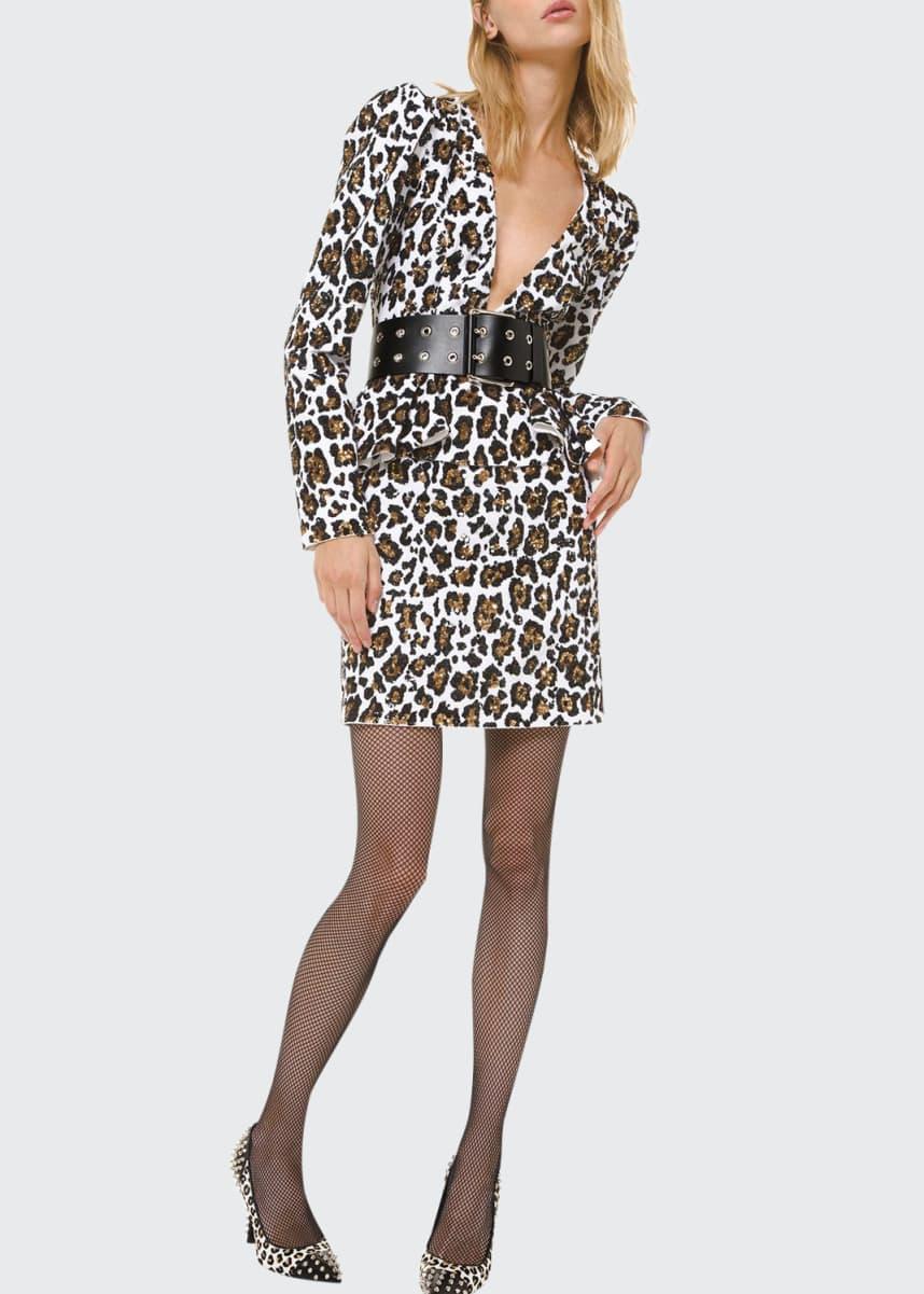 Michael Kors Collection Leopard-Print Plunging-Neck Dress