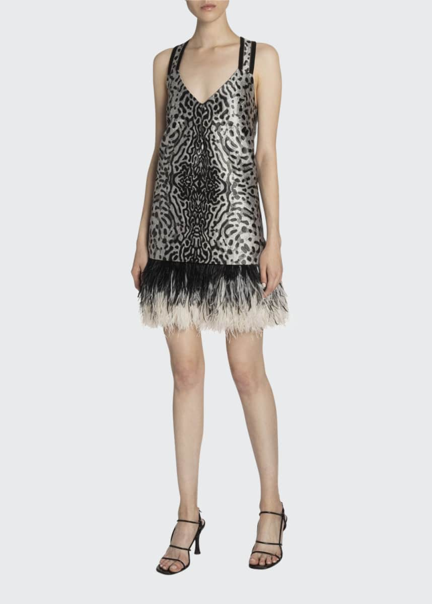 Proenza Schouler Animal-Print Jacquard V-Neck Feather-Trim Dress