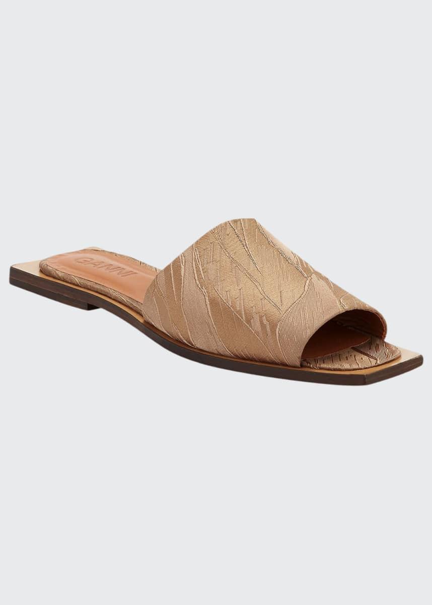 Ganni Metallic Brocade Flat Sandals