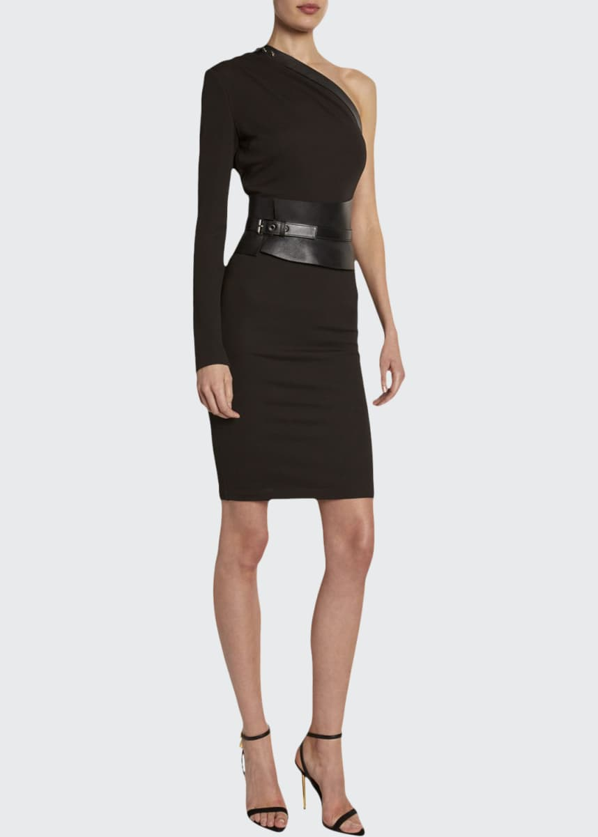 TOM FORD One-Shoulder Bodycon Dress with Removable Leather Harness