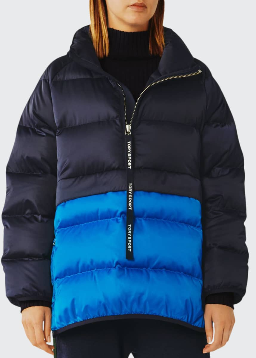 Tory Sport Colorblock Down Satin Quilted Pullover Jacket