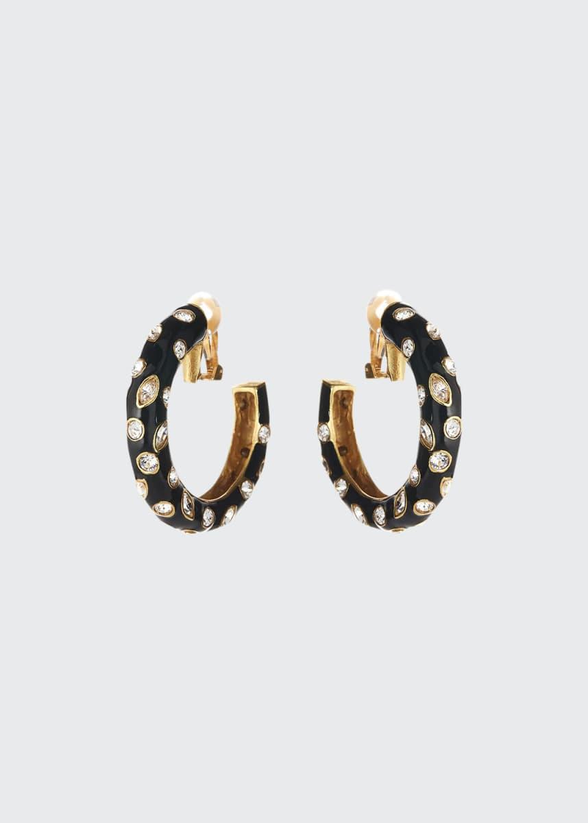 Oscar de la Renta Large Crystal Hoop Clip Earrings