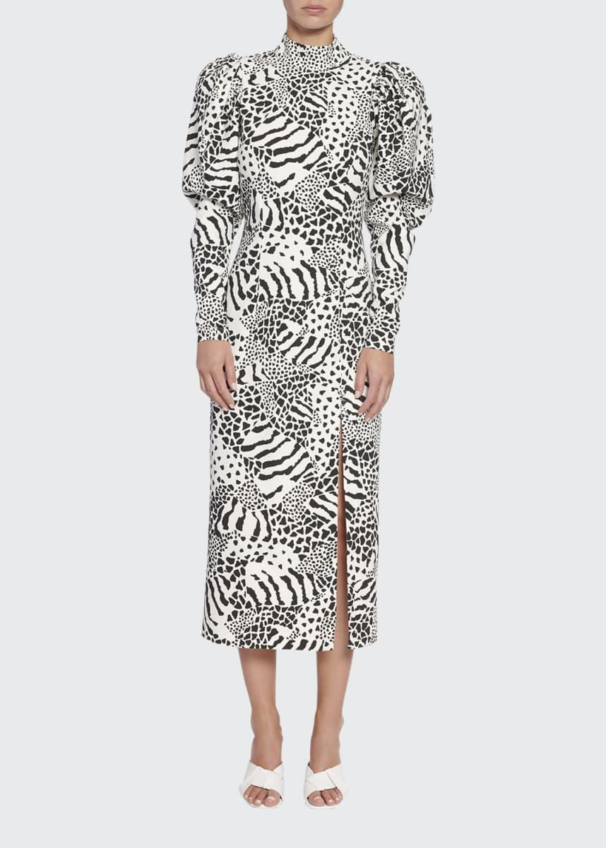 Rotate Birger Christensen Theresa Puff-Sleeve Animal-Print Midi Dress
