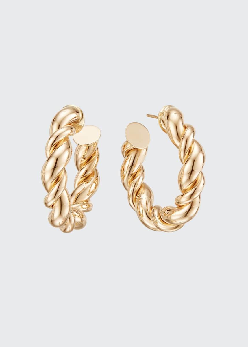 Lana 14k Wide Braided Hollow Hoop Earrings