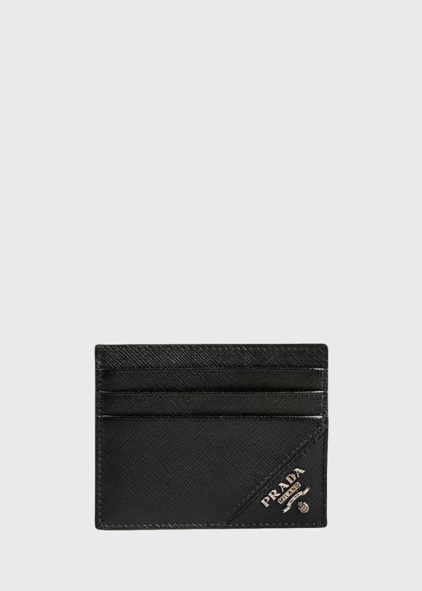 Prada Men's Saffiano Leather Contrast-Logo Card Case